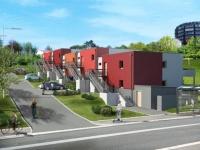 10 appartements THPE posés sur un terrain en pente