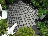 Un jardin crocodile dynamise l'entrée d'une maison