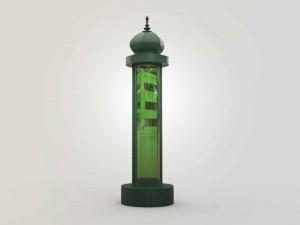 Une colonne design remplie de micro-algues pour
