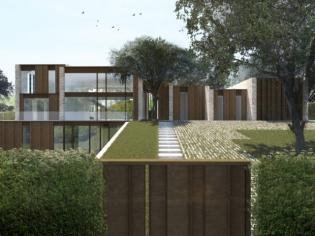Une maison d'architecte ton sur ton avec le paysage