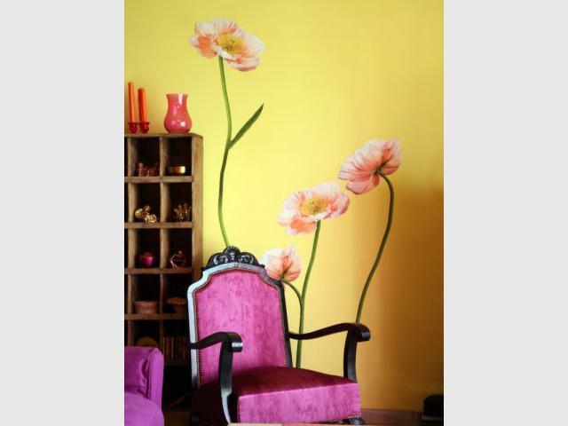 Sticker géant - Reportage salon - Linda Flament - relooking d'intérieur