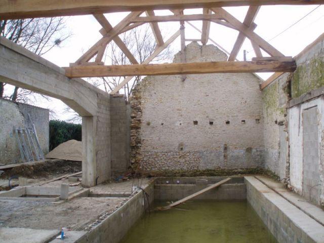 Restauration de la charpente - reportage piscine intérieure - Christelle Brosset - Provins