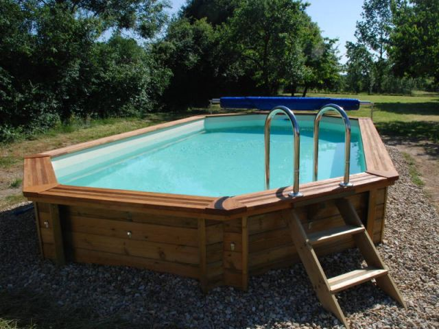Piscines l 39 option hors sol for Dimension piscine semi enterree