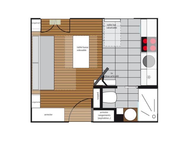1 petit studio digne d 39 1 grand appartement for Plan amenagement studio 25m2