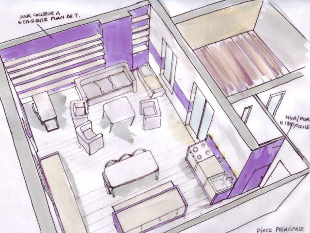 Vue générale pièce à vivre - Appartement couleurs