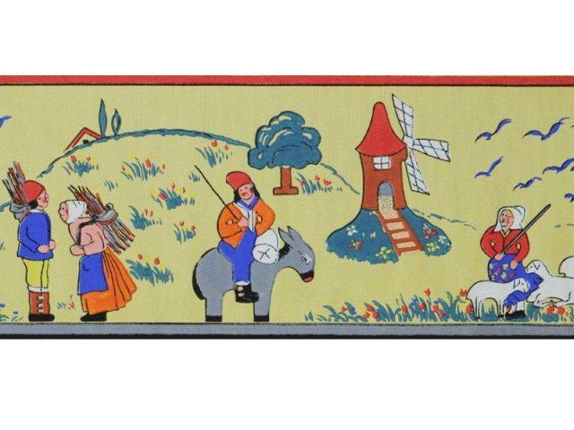 Papier peint pour enfant - Le meunier, la bergère et les ramasseurs de bois - Au royaume des petits princes