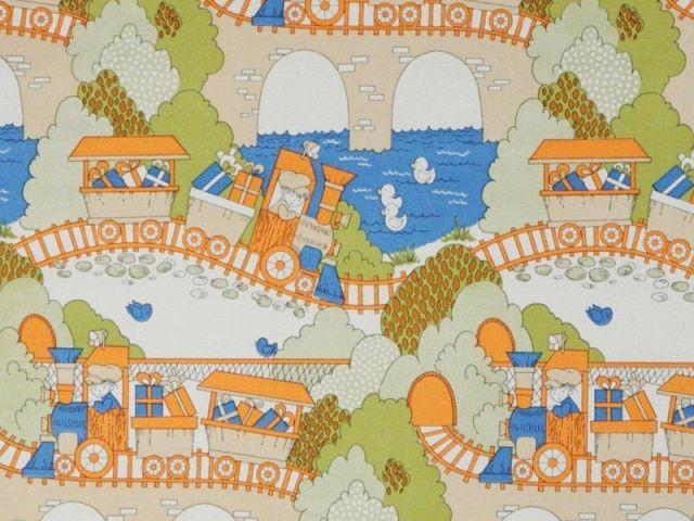 Papier peint pour enfant - Train transportant des cadeaux - Au royaume des petits princes