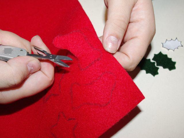 Couronne de Noël - Découpe des feutrines - Pas à pas couronne de Noël