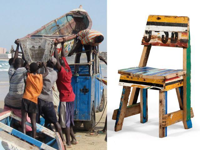 Mobilier bois de bateau