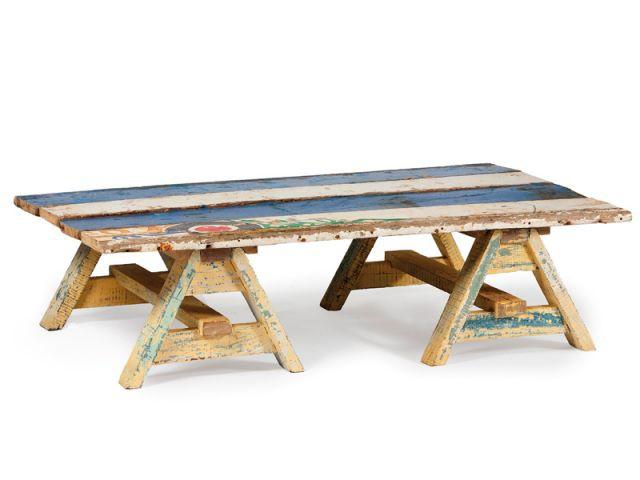 Dessus avec tréteaux - Mobilier bois de bateau