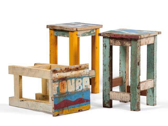 Tabouret Niodor - Mobilier bois de bateau