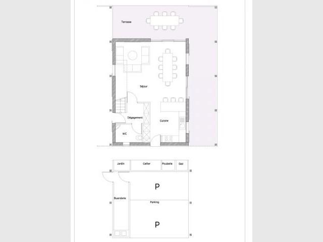 Plan Rdc Deux Maisons Adaptes Au Climat Tropical With Plan Maison Cubique  Gratuit