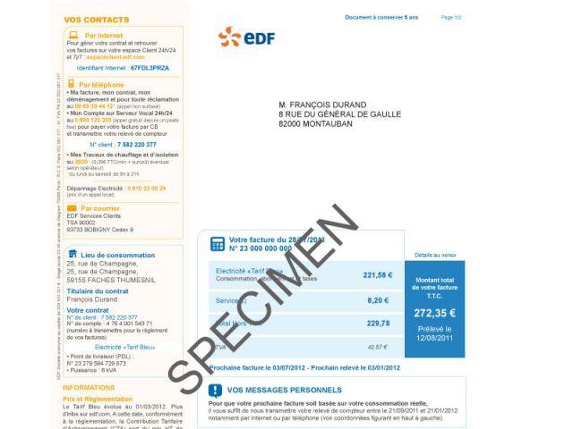 La nouvelle facture d 39 edf est arriv e - Facture edf moyenne maison ...