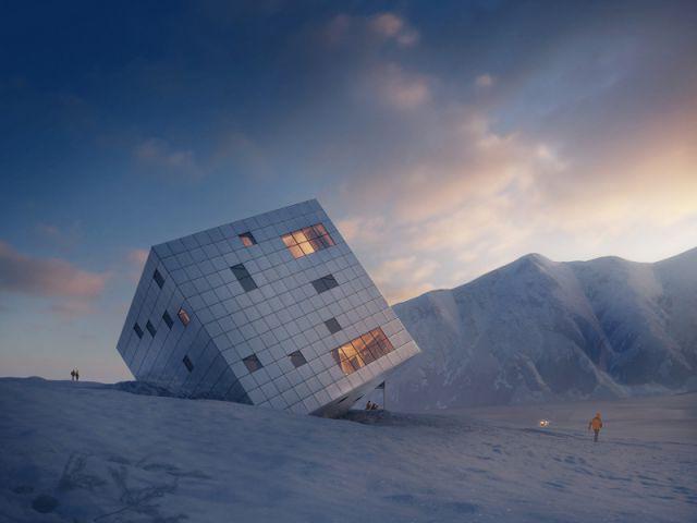 Un refuge de montagne futuriste