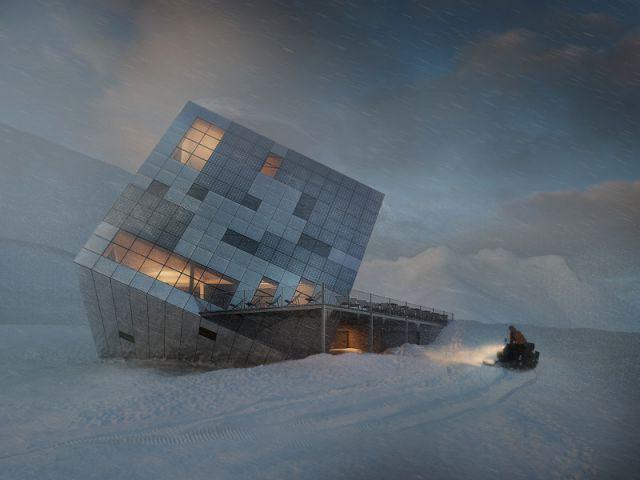 Un structure en forme de cube - Un refuge de montagne futuriste