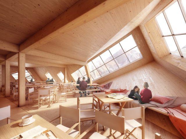 Un intérieur aménagé pour les skieurs - Un refuge de montagne futuriste