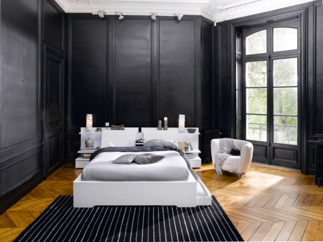 peindre les murs en noir pour cr er une ambiance contemporaine maisonapart. Black Bedroom Furniture Sets. Home Design Ideas