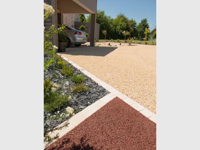 Am nager une cour moderne avec une composition de graviers color s - Gravier pour allee garage ...