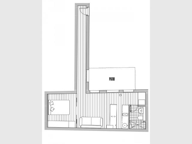 petit espace un 28 m2 modulable souhait. Black Bedroom Furniture Sets. Home Design Ideas