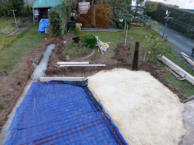 Réalisation des sols béton de la véranda et de la pergola