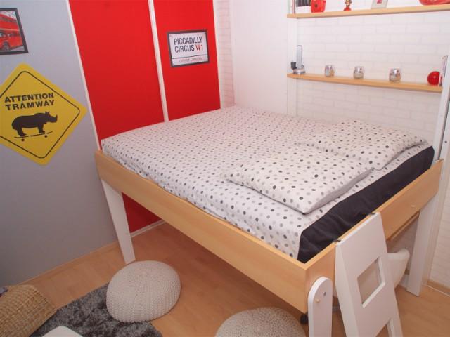 Une chambre d 39 ado gagne des m2 gr ce un lit escamotable - Charniere pour lit escamotable ...
