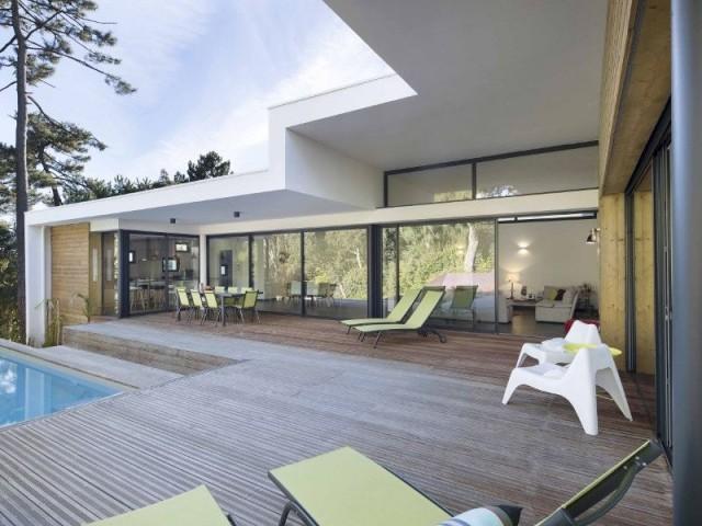 Villa Landaise avec piscine : bardages bois - Villa Landaise