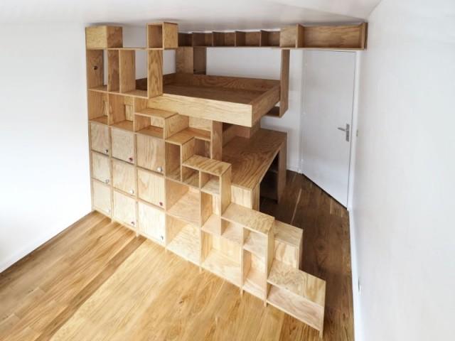une mezzanine sur mesure pour une petite chambre. Black Bedroom Furniture Sets. Home Design Ideas