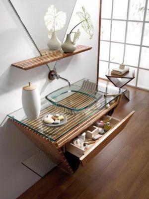 10 salles de bains exotiques page 9 for Meuble japonais bleu