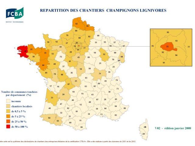 Carte de France établie par l'institut Technologique FCBA à partir des déclarations des entreprises de traitement certifiées CTB A+