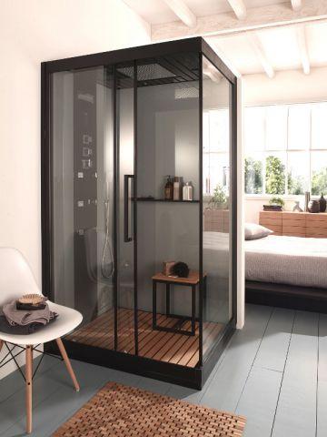 une suite parentale autour d 39 une cabine de douche. Black Bedroom Furniture Sets. Home Design Ideas
