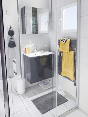 une cloison pour d limiter la mini salle de bains maisonapart. Black Bedroom Furniture Sets. Home Design Ideas