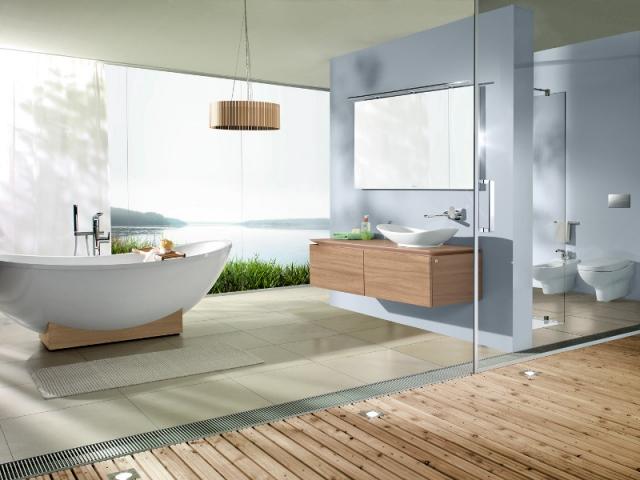 Une salle de bains avec une cloison s paratrice - Amenager badkamer ...