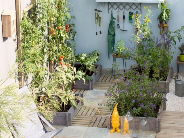 Une terrasse en caillebotis