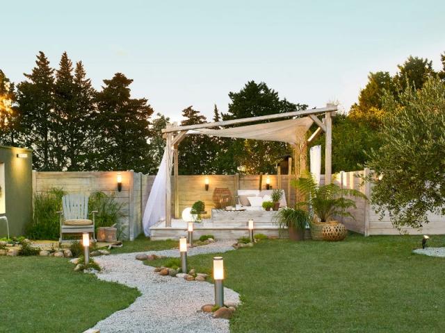 Un voile d'ombrage façon jardin japonais