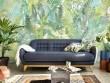 Un papier peint végétal pour un salon tropical très poétique