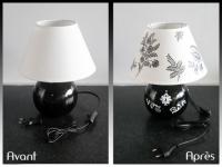 Une lampe relookée grâce à des collages