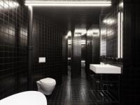 Une salle de bains contrastée qui brouille les espaces