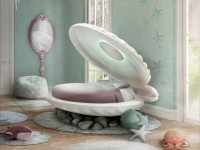 Un lit en forme de coquillage pour les apprenties sirènes !