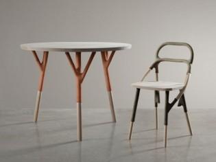 Un mobilier en Zelfo, l'Etreinte de la fibre de cellulose