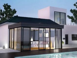 Vent de nouveautés chez Véranda Rideau : Icône, véranda extension toiture plate et modèles astucieux en abris de piscine