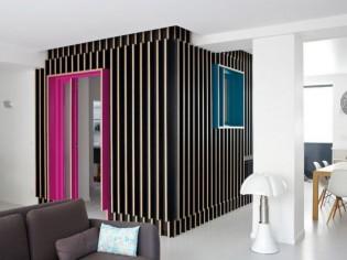 Une cabane noire au coeur d'un loft parisien
