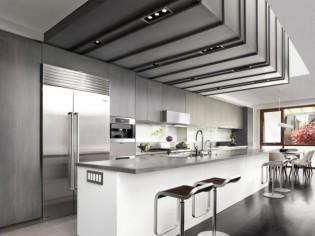 Une cuisine ultra design grâce à un étonnant puits de lumière