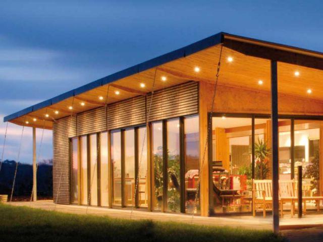 Vue de nuit - Henri David - maison contemporaine bois