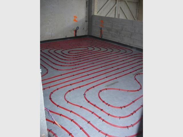 Parcours général des tubes - grange - plancher chauffant - Thermozyklus