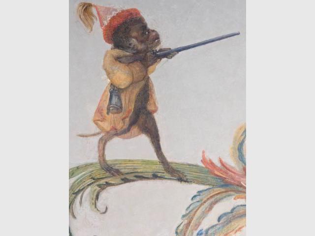 Décor singe après restauration - Décor Grande Singerie Chantilly