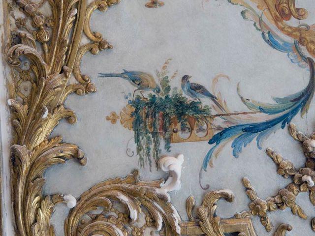 Décor oiseaux avant restauration - Décor Grande Singerie Chantilly