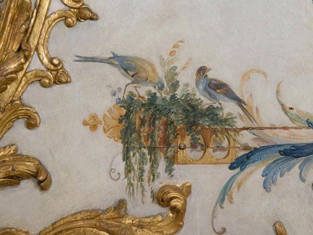 Décor oiseaux après restauration - Décor Grande Singerie Chantilly