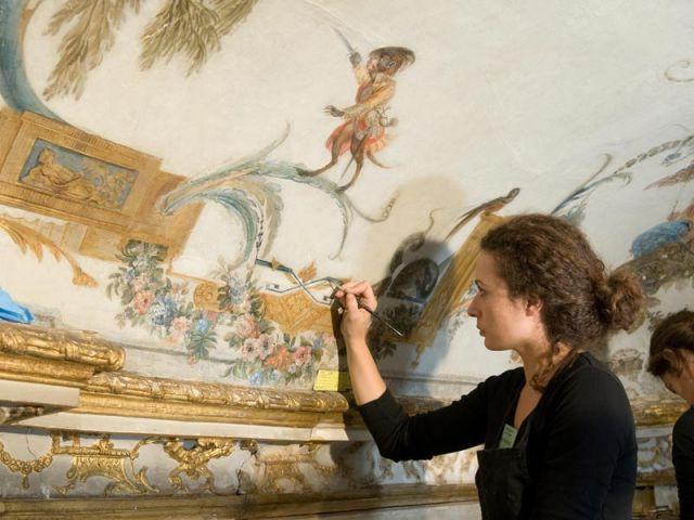 Restauration des décors peints - Décor Grande Singerie Chantilly