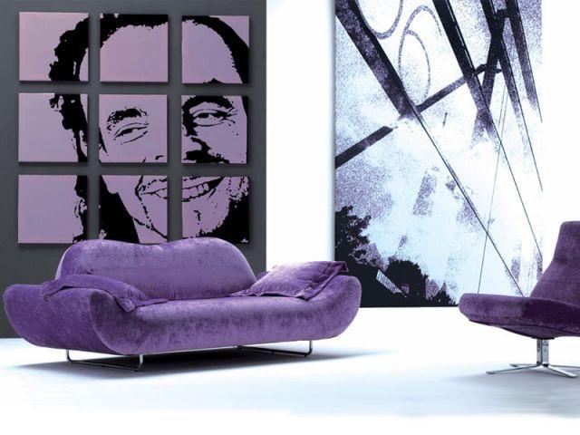 Canapé velour violet - Canapé salon