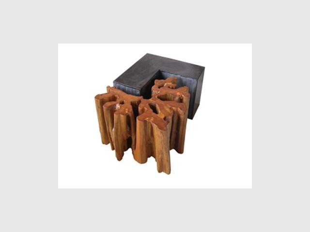Table basse acier et bois - Acabas design durable